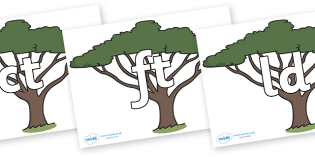 Final Letter Blends on Acacia Trees - Final Letters, final letter, letter blend, letter blends, consonant, consonants, digraph, trigraph, literacy, alphabet, letters, foundation stage literacy