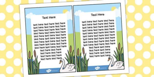 Ugly Duckling Editable Notes From Teacher - notes, ugly duckling