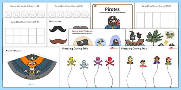 Pirate Themed Scissor Skills Pack - pirate, themed, scissor skills, pack, scissor, skills, fine, motor
