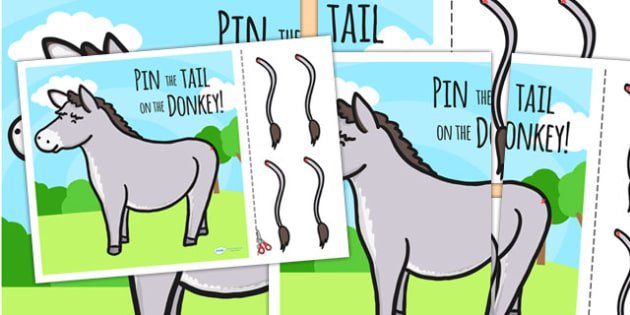 Pin The Tail On The Donkey - donkey, pin the tail, game, wet play