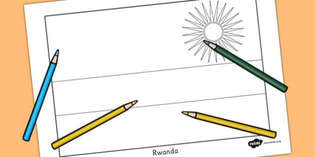 Rwanda Flag Colouring Sheet - countries, country, geography