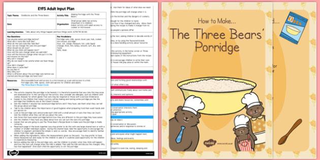 Making Porridge With Three Bears Adult Input Plan Resource Pack