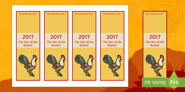 Chinese New Year 2017 Year of the Rooster Editable Bookmarks