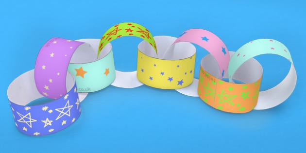 Multicoloured Stars Paper Chain - star, star display, paper chain
