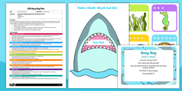 EYFS Feed a Shark Posting Busy Bag Plan and Resource Pack