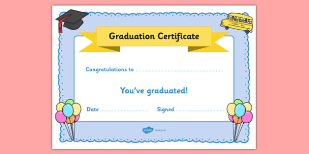School Graduation Certificate  End Of The School Year