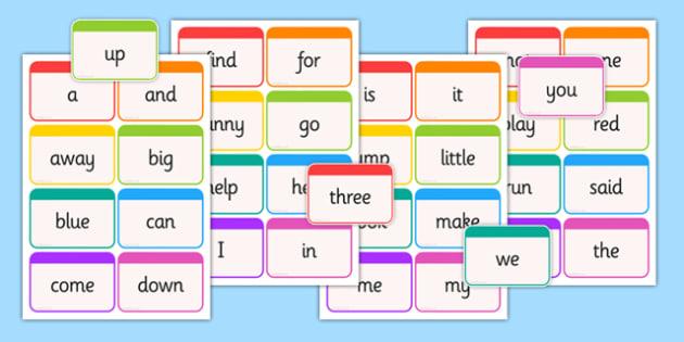 Dolch Word Flashcards Pre-Primer - usa, america, dolch, word, flashcards, pre-primer