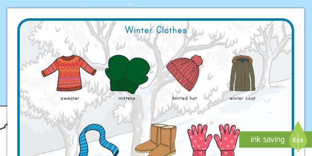 Winter Clothes Word Mat - winter, clothes, word mat, vocabulary