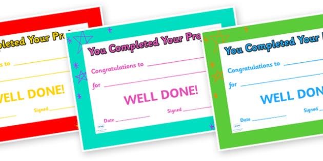 Congratulations on Completing Your Project Award Certificate - congratulations, awards, certificate, reward, behaviour management, class rewards, behaviour