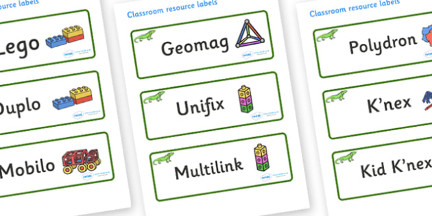Iguana Themed Editable Construction Area Resource Labels - Themed Construction resource labels, Label template, Resource Label, Name Labels, Editable Labels, Drawer Labels, KS1 Labels, Foundation Labels, Foundation Stage Labels
