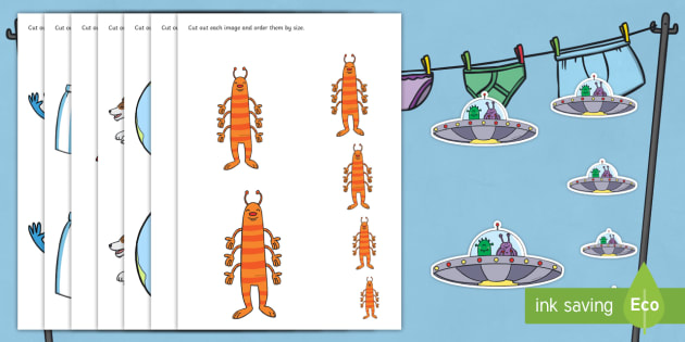 Size Ordering to Support Teaching on Aliens Love Underpants - aliens love underpants, size ordering, size ordering activity, size and shape, size, shape, size arranging, worksheets