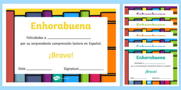 Spanish End of Year Reading Comprehension Award Certificate