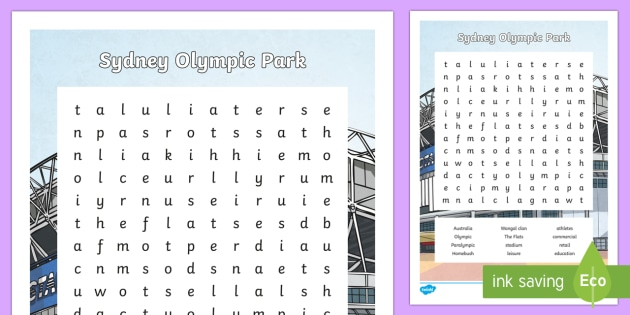 Sydney Olympic Park Word Search-Australia - Sydney Australia, sydney olympic park, olympics, athletes, famous, landmark, word search, find a wor