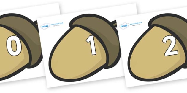 Numbers 0-50 on Brown Acorns - 0-50, foundation stage numeracy, Number recognition, Number flashcards, counting, number frieze, Display numbers, number posters