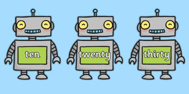 Multiples of 10 Words on Robots - multiples, 10, words, robots, display