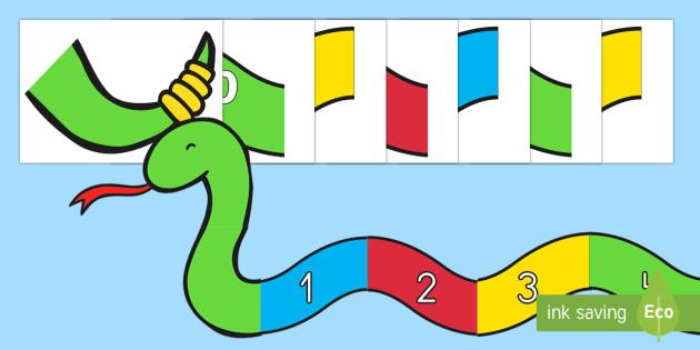 Serpiente de números - Decoración de la clase, números, serpiente, juegos,contar, Spanish