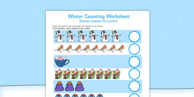 Counting Worksheets Winter Polish Translation - polish, counting, worksheets, winter, count