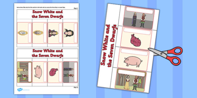 Snow White and the Seven Dwarfs Story Writing Flap Book - story