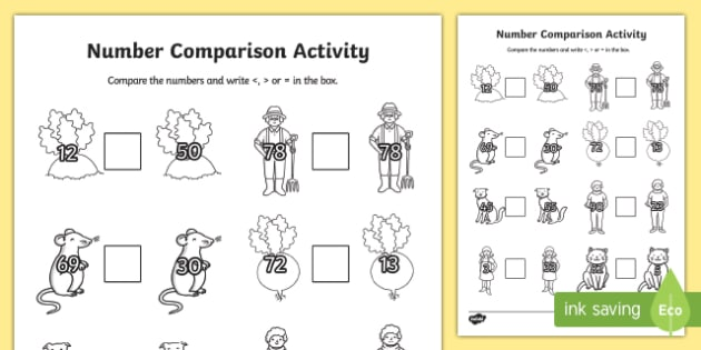 The Enormous Turnip Number Comparison Worksheet - number, maths
