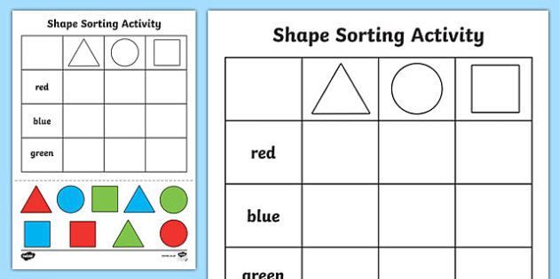 Shape Sorting Cut and Paste Activity Sheet - shapes, motor