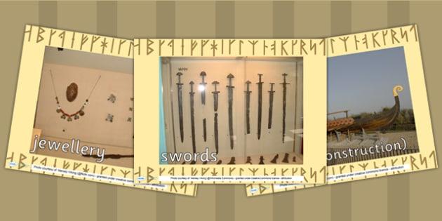Viking Artefacts Display Photos PowerPoint - viking, history
