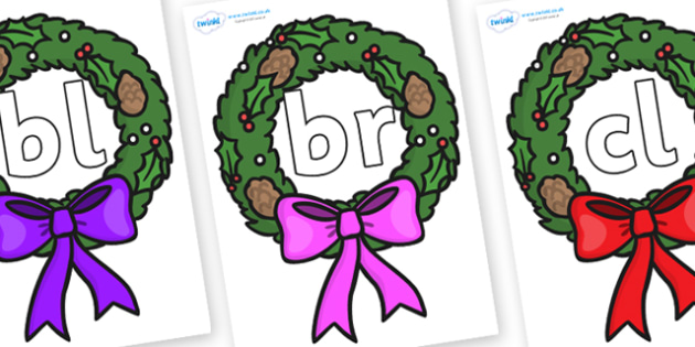 Initial Letter Blends on Christmas Wreaths - Initial Letters, initial letter, letter blend, letter blends, consonant, consonants, digraph, trigraph, literacy, alphabet, letters, foundation stage literacy