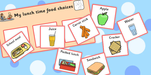 My Lunch Time Food Choices - lunch time, food, choices, cards