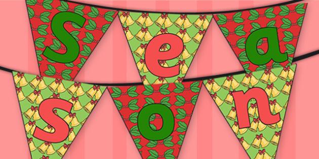 Seasons Greetings Bunting - seasons greetings, christmas, bunting, themed bunting, display bunting, display, bunting flags, flag bunting, cut out bunting