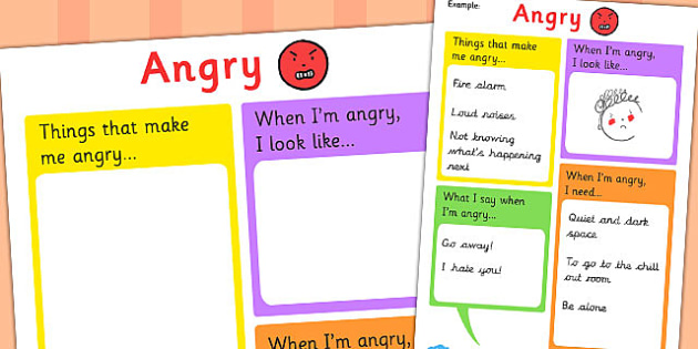 Angry Chart - feelings, emotions, SEN, class management, charts