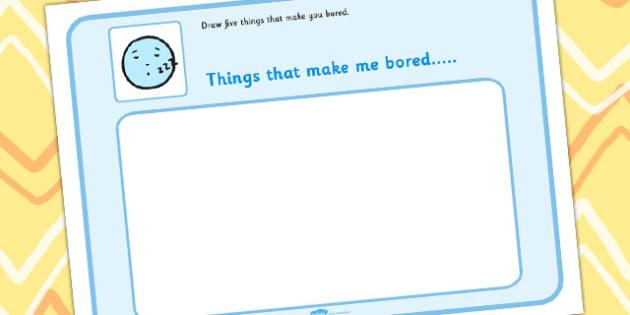 Draw 5 Things That Make You Bored - feelings, emotions, SEN