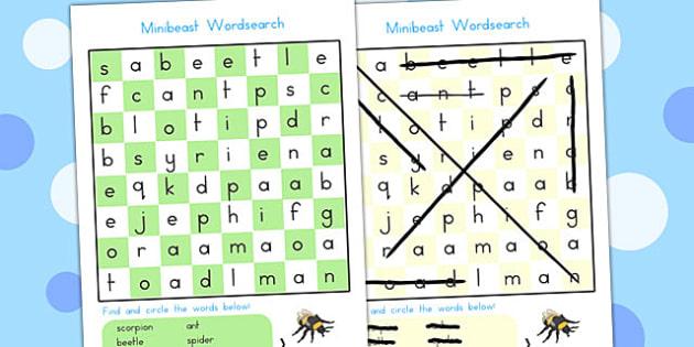 Minibeast Wordsearch - word search, game, word games, mini beasts