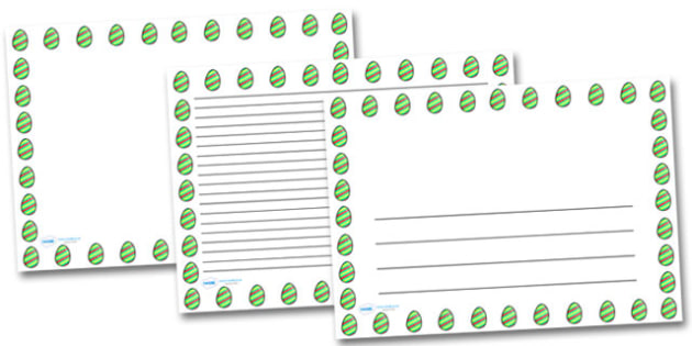 Striped Easter Egg Landscape Page Borders- Landscape Page Borders - Page border, border, writing template, writing aid, writing frame, a4 border, template, templates, landscape