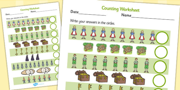 Hansel and Gretel Counting Sheet - counting, hansel, gretel