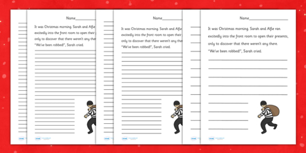Christmas Thief Story Starter Worksheets - christmas, literacy, story