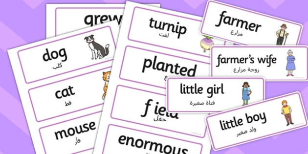 The Enormous Turnip Word Cards Arabic Translation - arabic, word cards