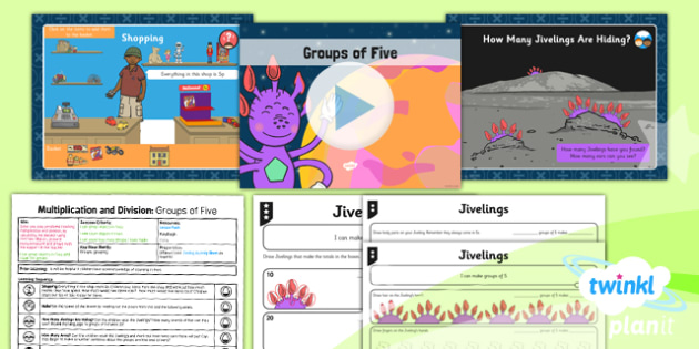 PlanIt Y1 Multiplication and Division Lesson Pack Multiplying and Dividing by Five (1) - groups of five, same size groups, groups from a given total, multiplying by five, five times table, 5 x table, planning