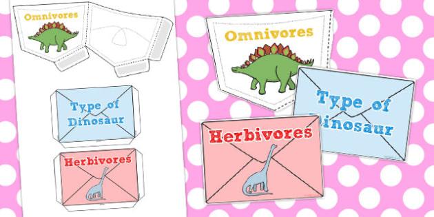 Dinosaur Herbivores and Carnivores Sorting Pouches - australia