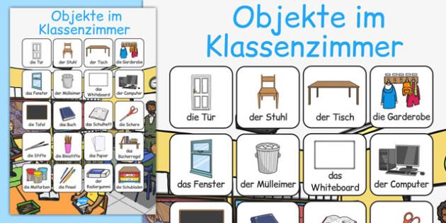 Objekte im Klassenzimmer Vocabulary Poster German - german, classroom objects, classroom, objects, vocabulary, poster, display