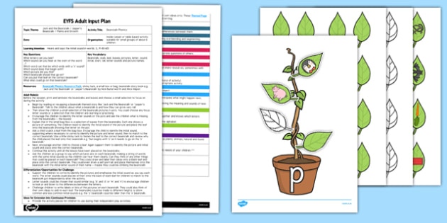 Beanstalk Phonics EYFS Adult Input Plan and Resource Pack - EYFS, Early Years planning, adult led, plants and growth, Jack and the Beanstalk, Jasper's Beanstalk, Mick Inkpen, Nick Butterworth,  literacy, initial sounds