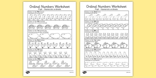 Ordinal Numbers Worksheet Romanian Translation - romanian, ordinal