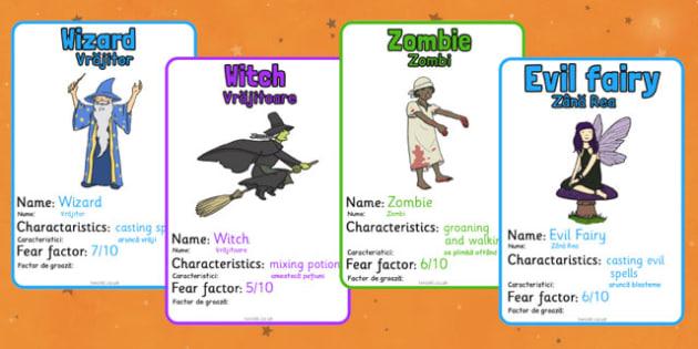 Halloween Monster Top Card Game Romanian Translation - romanian, halloween, monster, top trumps