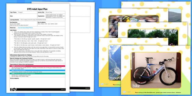 Bicycle Song EYFS Adult Input Plan and Resource Pack - input
