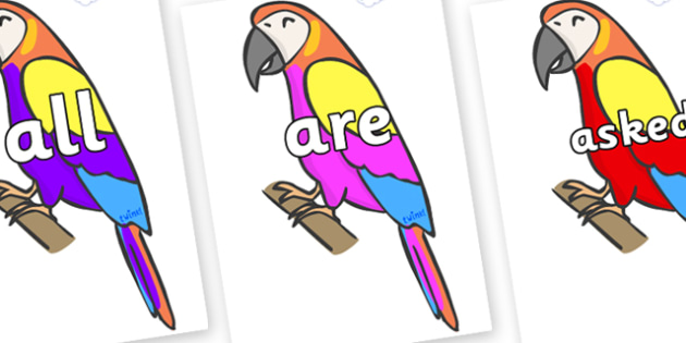 Tricky Words on Macaws - Tricky words, DfES Letters and Sounds, Letters and sounds, display, words