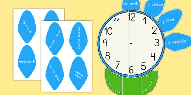Reloj analógico de forma de flor - hora, tiempo, jardín, aprender la hora, saber la hora, decir la hora