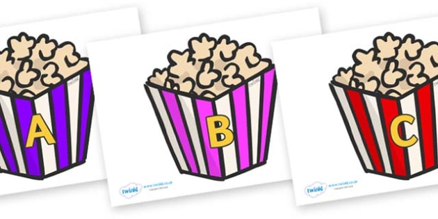 A-Z Alphabet on Popcorn - A-Z, A4, display, Alphabet frieze, Display letters, Letter posters, A-Z letters, Alphabet flashcards