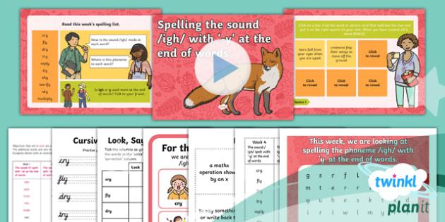 PlanIt Y2 Term 1B W4: 'y' Spelling Pack