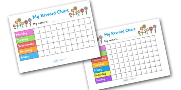 My Reward Chart (Flowers) - my reward chart, flowers, chart, reward, well done, certificate, award, school, general, flowers themed, flour, gree, colourful