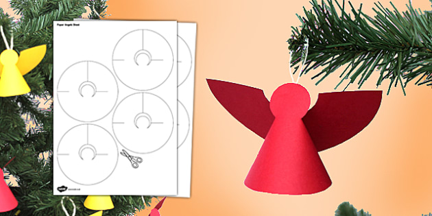 Paper Angels Craft Activity - paper, angels, paper model, christmas, craft, tree