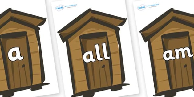 Foundation Stage 2 Keywords on Sheds - FS2, CLL, keywords, Communication language and literacy,  Display, Key words, high frequency words, foundation stage literacy, DfES Letters and Sounds, Letters and Sounds, spelling