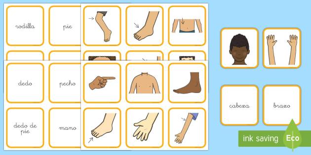 Tarjetas de emparejar: El Cuerpo y la salud  - vocabulario, cuerpo, tarjetas, emparejar,Spanish